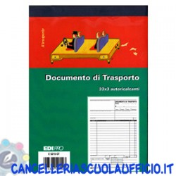 Blocco documento di trasporto 33x3 Formato 22x14,8 Edipro