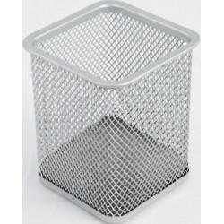 Bicchieri Porta matite metallo quad. cm. 8 Silver